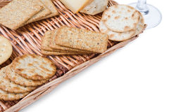Crackers. Some crackers on the wicker plate on white background stock photo