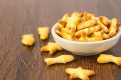 Crackers. Different shape of cracker in a bowl Royalty Free Stock Photos
