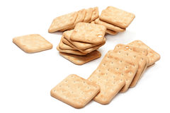 Piles of Simple Crackers or Biscuits Stock Photography