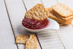 Crackers amd sauce Royalty Free Stock Image