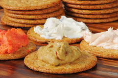 Crackers with assorted dips Royalty Free Stock Photo