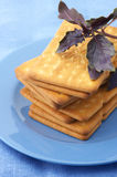 Crackers with basil in plate Stock Images