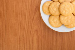 Crackers or biscuits on wooden Stock Photography