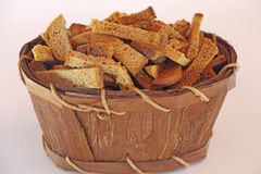 Crackers of bread in a basket. Stock Photography