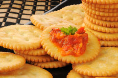 Crackers with bruschetta Royalty Free Stock Image