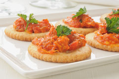 Crackers with bruschetta Royalty Free Stock Photo