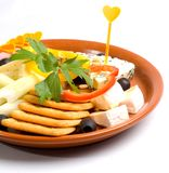 Crackers and cheese Stock Image