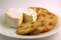 Crackers and cheese. Served on a white plate Royalty Free Stock Photo