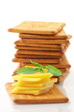 Crackers with cheese and basil Royalty Free Stock Images