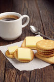 Crackers with cheese and coffee Stock Images