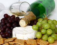 Crackers, Cheese, Grapes and Wine Royalty Free Stock Photography