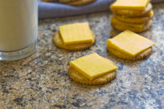 Crackers and Cheese with Milk Stock Photo