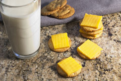 Crackers and Cheese with Milk Stock Photography
