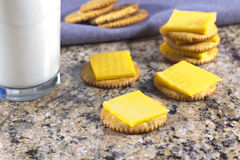 Crackers and Cheese with Milk Royalty Free Stock Photography