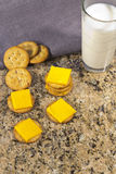 Crackers and Cheese with Milk Stock Image