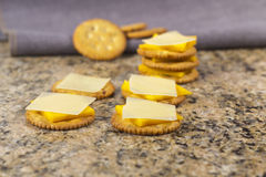 Crackers and Cheese with Milk Royalty Free Stock Photos