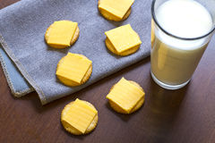 Crackers and Cheese with Milk Royalty Free Stock Image