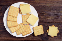 Crackers with cheese Stock Image