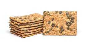 Crackers with cheese and seeds Stock Image