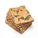 Crackers with cheese and seeds Royalty Free Stock Image