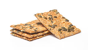 Crackers with cheese and seeds Stock Images