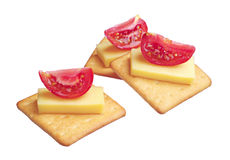 Crackers with cheese and tomato Royalty Free Stock Images