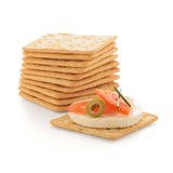 Crackers with cheese and tomato Royalty Free Stock Photography