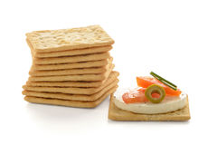 Crackers with cheese and tomato Stock Images
