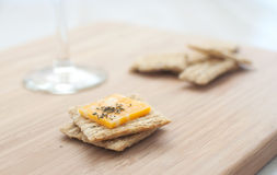 Crackers with cheese vertical Royalty Free Stock Images