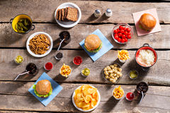 Crackers with chips and burgers. Royalty Free Stock Photo