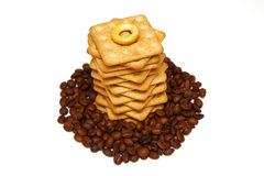 Crackers and coffee Royalty Free Stock Images