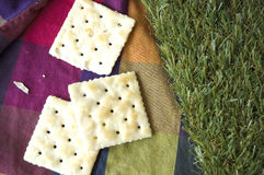 Crackers on color background Stock Photography
