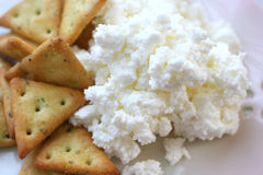 Crackers with Cottage cheese Stock Images