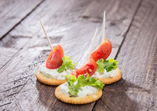 Crackers with Cream Cheese Royalty Free Stock Photos