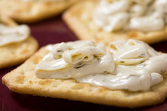 Crackers with Cream Cheese Stock Photography