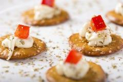 Crackers with Cream Cheese Stock Photos