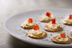 Crackers with Cream Cheese Stock Images