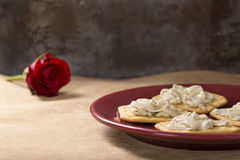 Crackers with Cream Cheese Stock Image