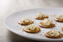 Crackers with Cream Cheese Royalty Free Stock Photography