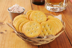 Crackers with deviled ham Stock Photography