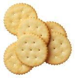 Crackers die op witte achtergrond worden geïsoleerd= Stock Fotografie
