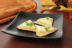 Crackers with dill cheese Royalty Free Stock Photos