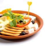 Crackers en kaas Stock Afbeelding