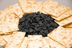 Crackers en rozijnen Stock Afbeelding