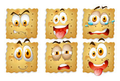 Crackers with facial expressions Stock Photography