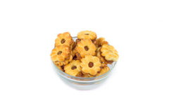 Crackers fillings pineapple on crystal dish Royalty Free Stock Images