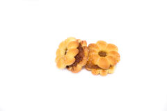 Crackers fillings pineapple on white background Stock Image
