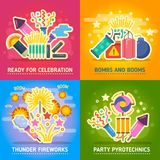 Crackers, fire show, holiday party, pyrotechnics festival vector concepts Royalty Free Stock Images