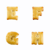 Crackers in the form of the alphabet : E-F Stock Image