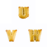Crackers in the form of the alphabet : U-W Royalty Free Stock Photography